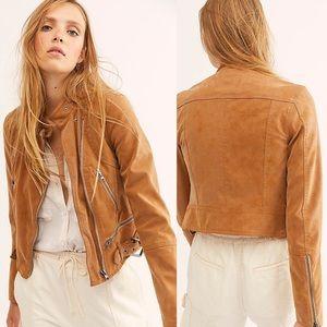 We The Free Fenix Vegan Leather Tan Moto Jacket